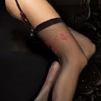 Ballerina 290 Luxury Seamed Stockings in Black & Red